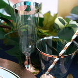 12 Pack | 5 oz Rose Gold Disposable Plastic Champagne Flutes | Rimmed Design with Detachable Base