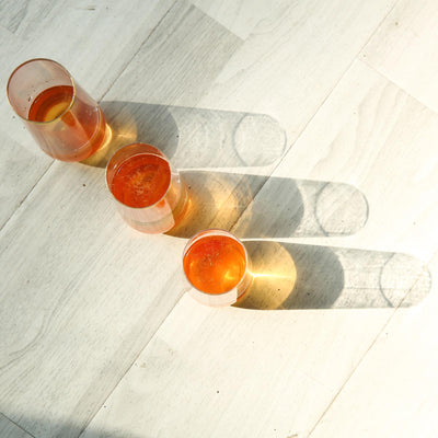 6 Pack | 9 oz Clear Disposable Stemless Champagne Flutes with Gold RIM | Cylinder Glass