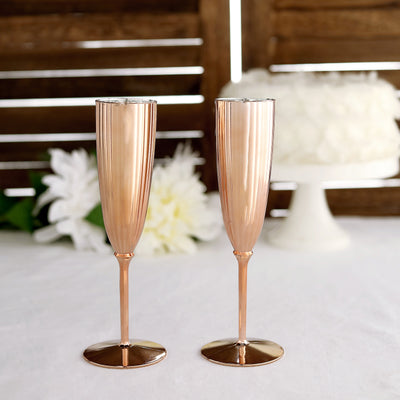 6 Pack | 5oz Premium Metallic Disposable Champagne Flutes - Rose Gold | Blush