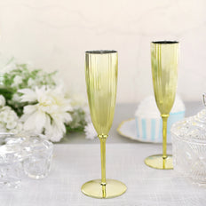 6 Pack | 5oz Gold Premium Metallic Disposable Champagne Flutes