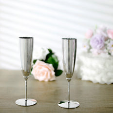 Set of 6 | 5 Oz Metallic Silver Disposable Champagne Flutes, Wine Goblets, Plastic Champagne Flutes