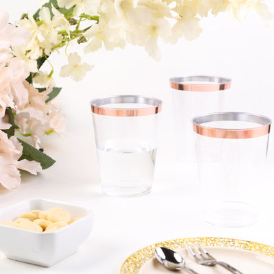 12 Pack | 9 oz Rose Gold Disposable Plastic Tumblers | Rimmed Design