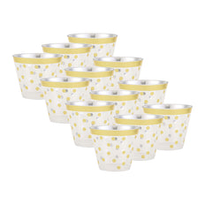 12 Pack 9oz Gold Rim Polka Dots Plastic Disposable Tumblers