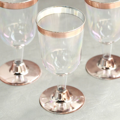 Pack of 12 - 6.5 oz Disposable Plastic Wine Cups - 2-Piece - Rose Gold Rimmed Design with Detachable Base