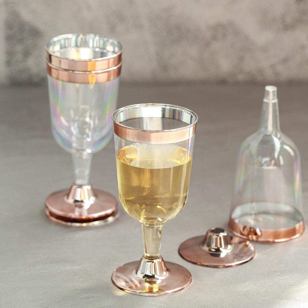 fdd3ef7e18a 6 Pack | 7 oz Clear Disposable Plastic Wine Glasses with Rose Gold Rim and  Detachable