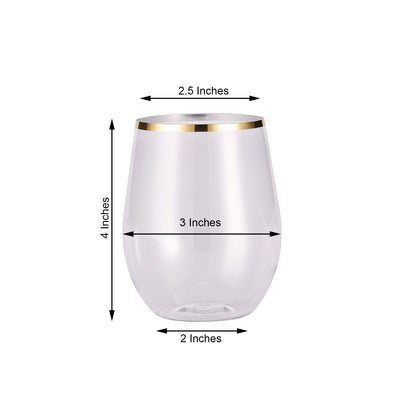 12 Pack | 14oz Clear Disposable Wine Glasses, Plastic Stemless Wine Tumbler with Gold Rim