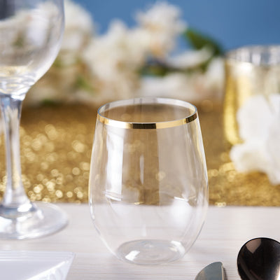 12 Pack | 14oz Clear Disposable Wine Glasses, Plastic Stemless Wine Tumblers with Gold Rim