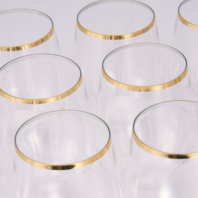12 Pack | 14oz Clear Disposable Plastic Stemless Wine Glasses with Gold Rim