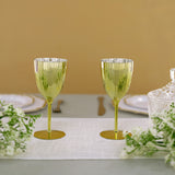 Set of 6 | 8 Oz Metallic Gold Premium Disposable Wine Glasses, Stemmed Wine Goblets