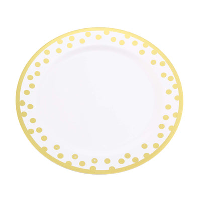 12 Pack | 10 inch Round Disposable Polka Dots Dinner Plates - Gold/White