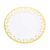 "12 Ct | 10"" Round Disposable Polka Dots Dinner Plates - Gold/White"