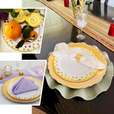 "12 Pack | 10"" Round Disposable Polka Dots Dinner Plates - Gold/White"