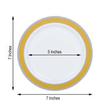 "12 Pack | 7"" Round Gold with Silver Rim Disposable Salad Plates - White"
