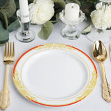 10 Pack | 8 inch Round Red Rim Disposable Salad Plates With Gold Vine Design - White