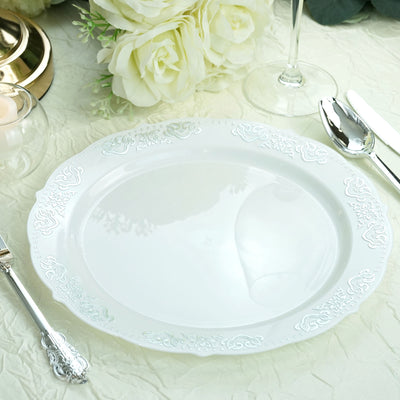 "10 Ct | 10"" Round Silver Embossed Disposable Dinner Plates With Scalloped Edges - White/Silver"
