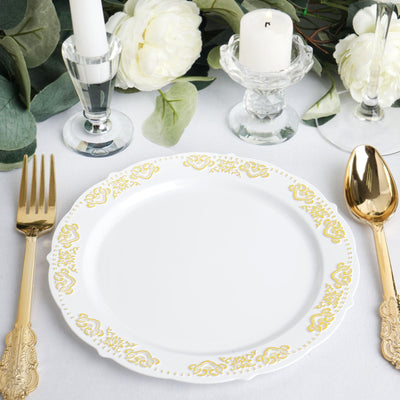 "10 Ct | 8"" Round Gold Embossed Disposable Salad Plates With Scalloped Edges - White/Gold"