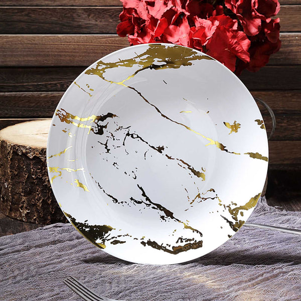 "Set of 10 | 10"" Marble Disposable Plastic Plates, Dinner Plates 
