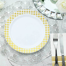 10 Pack | 10 inch White Round Disposable Plastic Dinner Plates With Gold Checkered Rim