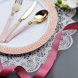 White Round Disposable Plastic Salad Dessert Plates with Rose Gold Hammered Rim