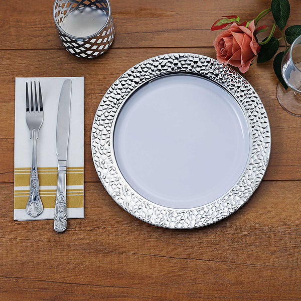 "10 Pack | 10"" White Disposable Plates Round Dinner Plates with Silver Hammered Rim"