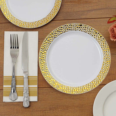 "10 Pack | 7.5"" White Disposable Plates Round Salad Plates with Gold Hammered Rim"