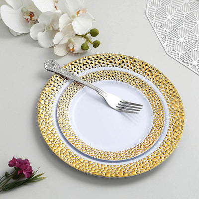 White Round Disposable Plastic Salad Dessert Plates with Hammered Gold Rim