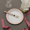 "10 Pack | 7.5"" White Round Disposable Plastic Salad Dessert Plates with Hammered Rim - Rose Gold 