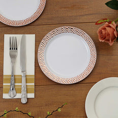 10 Pack | 7.5 inch White Disposable Plates Round Salad Plates with Rose Gold Hammered Rim