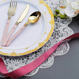 White Round Disposable Plastic Dinner Plates With Gold Ornate Lace Rim