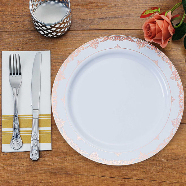 "10 Pack | 10"" White Disposable Plates Round Dinner Plates with Rose Gold Ornate Lace Rim"