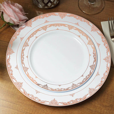 White Round Disposable Plastic Dinner Plates With Rose Gold Ornate Lace Rim