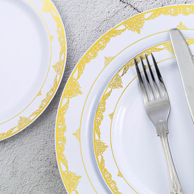 White Round Disposable Plastic Salad Dessert Plates With Gold Ornate Lace Rim
