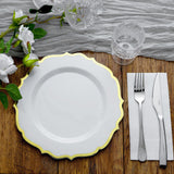 10 Pack | 10 inch White Plastic Ornate Dinner Plates With Gold Hot Stamp Scalloped Rim
