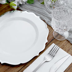 10 Pack | 10 inch White Plastic Ornate Dinner Plates With Silver Hot Stamp Scalloped Rim