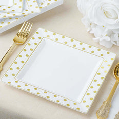 12 Pack | 7 inch Square Disposable Polka Dots Dessert Salad Plates - Gold/White