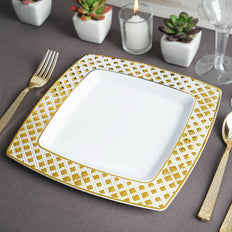 10 Pack | 9 inch | Disposable Square Plates | Dinner Plates | Gold & White | Diamond Rims