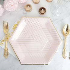 11 inch | 350 GSM Blush Hexagon Paper Plates | Geometric Gold Foil Stripes and Rim