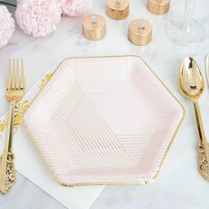 8.5 inch | 350 GSM Blush Hexagon Dessert Paper Plates | Thin Gold Foil Stripes and Rim