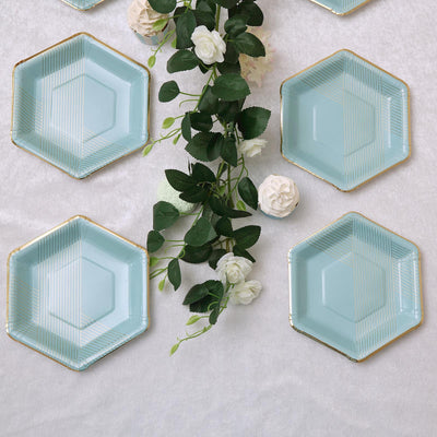 8.5 inch | 350 GSM Mint Blue Hexagon Dessert Paper Plates | Thin Gold Foil Stripes and Rim