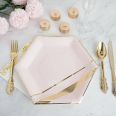 11 inch 350 GSM Blush Hexagon Fancy Dinner Paper Plates | Double Gold Foil Stripes and Rim