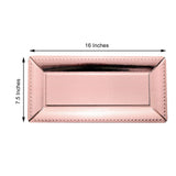 "10 Pack | 1100 GSM 16"" Rose Gold Paper Cardboard Serving Trays With Leather Texture Beaded Rim"