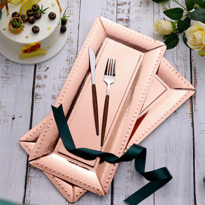 10 Pack | Rose Gold Serving Trays | Paper Cardboard Trays With Leather Texture Beaded Rim - 1100 GSM