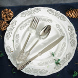 "24 Pack | 7"" Metallic Silver Baroque Disposable Cutlery Plastic Spoons"