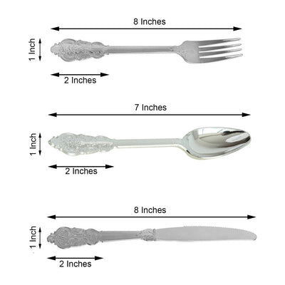 72 Pack | Metallic Silver Baroque Design Heavy Duty Plastic Cutlery Set | Plastic Silverware