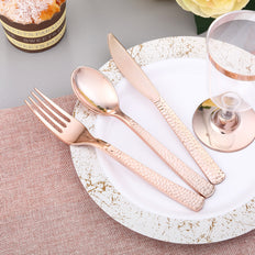 Hammered Design Rose Gold Plastic Cutlery Set, Plastic Silverware