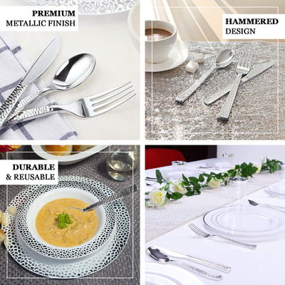 72 Pack | Hammered Design Silver Heavy Duty Plastic Cutlery Set | Plastic Silverware