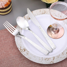 Hammered Design Plastic Cutlery Set, Plastic Silverware