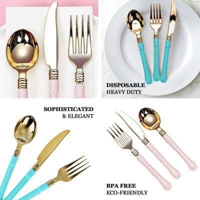 "24 Pack | 7"" Gold Heavy Duty Plastic Spoons with Blue Handle 