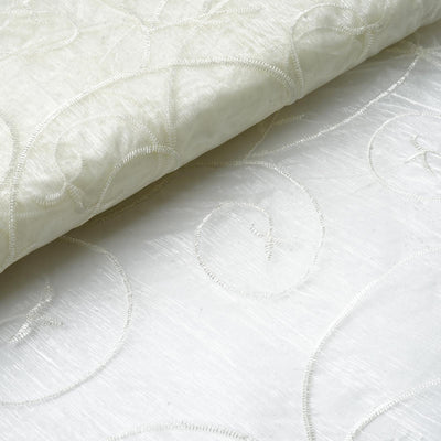 "Shimmering Organza with Satin Embroidery Fabric Bolt - Ivory- 54"" x 10Yards"