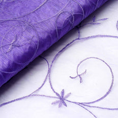 "Shimmering Organza with Satin Embroidery Fabric Bolt - Purple- 54"" x 10Yards"